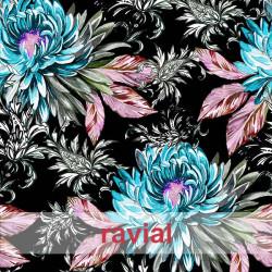 NERA. Tejido de terciopelo estampado de flores con algo de elasticidad.