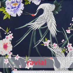HASINA. Soft viscose fabric. Cranes and flowers print.