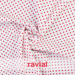 HARU. Printed cotton fabric with polka dot print (4 mm.).