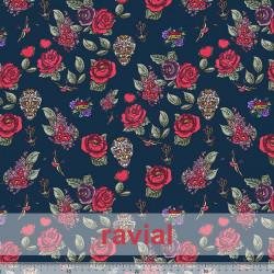 POPELIN MICRO FIBRA ESTP. Poplin fabric with antibacterial and waterproof treatment, permanent in multiple washes. Roses, skulls