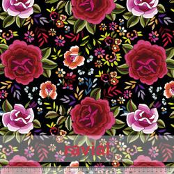 D-STRECH ESTP. Polyester fabric with rose print (10 cm).