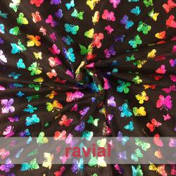 TORAJA. Tejido de tul estampado con mariposas de colores.