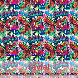 R-D-STRECH ESTP. Polyester fabric with graffiti print.