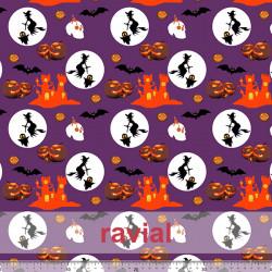 D-STRECH ESTP. Polyester fabric. Halloween print.