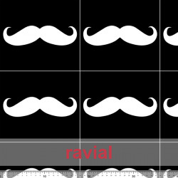 D-STRECH ESTP. Polyester fabric. Moustache print. Pattern: 18x16cm.