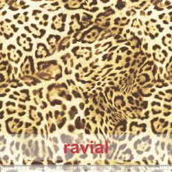 KIRA. Soft satin fabric with leopard print.