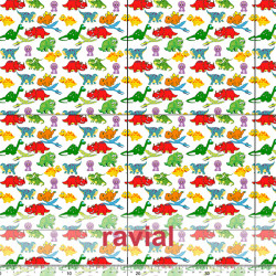 D-STRECH ESTP. Polyester fabric with dinosaur print. Pattern: 21x20cm.