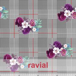 NERA. Tejido de terciopelo estampado cuadros y flores con algo de elasticidad.