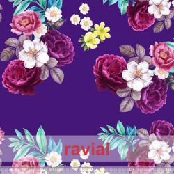 NERA. Tejido de terciopelo estampado flores con algo de elasticidad.