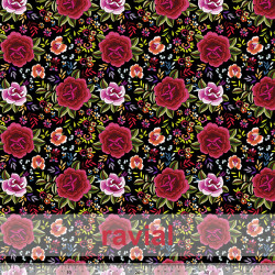 D-STRECH ESTP. Polyester fabric with rose print (4 cm).