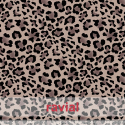 D-STRECH ESTP. Tejido de poliester estampado leopardo 4 cm OEKO-TEX Standard 100