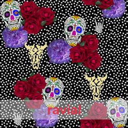 D-STRECH ESTP. Strech fabric. Skulls, polka dots and flowers print.