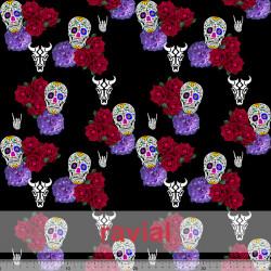 D-STRECH ESTP. Strech fabric. Skulls and flowers print.