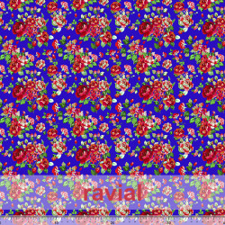 D-STRECH ESTP. Polyester fabric with printed flowers. (Large flower 3 cm.).