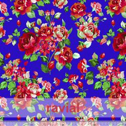D-STRECH ESTP. Polyester fabric with floral print. Big flower 7 cm.