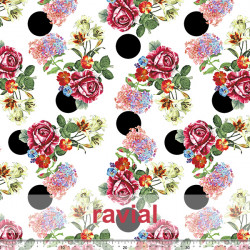 GUAJIRA. Soft techno-peach bi-elastic fabric, with floral and polka dot (4 cm) print.