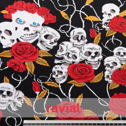LORCA. Cotton fabric with patterned skulls.
