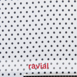 CONQUISTA. Thin chiffon fabric with 7 mm. polka dots pattern.