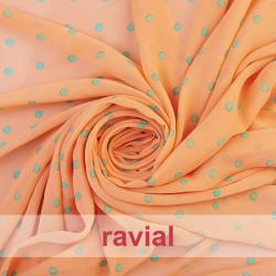 CONQUISTA. Thin chiffon fabric with 8 mm. polka dots pattern.