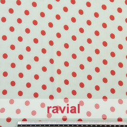 CONQUISTA. Thin chiffon fabric with 1 cm. polka dots pattern.
