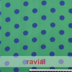 CONQUISTA. Thin chiffon fabric with 2 cm. polka dots pattern.