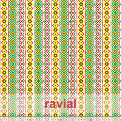D-RUA. Satinette fabric with a ethnic pattern.