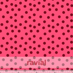 TOLOX. Drape crepe fabric with printed polka dots (1,50 cm).