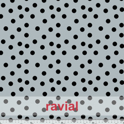 TOLOX. Drape crepe fabric with printed polka dots (1,50 cm).