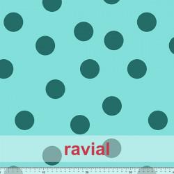 TOLOX. Drape crepe fabric with printed polka dots (4,50 cm).