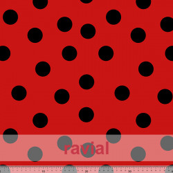 GUAJIRA. Soft techno-peach bi-elastic printed fabric. Polka dot 7 cm.