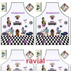 HM-MARADA. Polyester stain-resistant fabric for apron. Fabulous 50's print. 2 aprons per 1m x 1.50m.