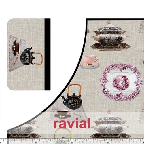 HM-MARADA. Polyester stain-resistant fabric for apron. Porcelain print. 2 aprons per 1m x 1.50m.