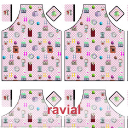 HM-MARADA. Polyester stain-resistant fabric for apron. Retro print. 2 aprons per 1m x 1.50m.