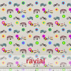 GOOFY. Soft fleece fabric. Hippy print with flowers and vehicles.