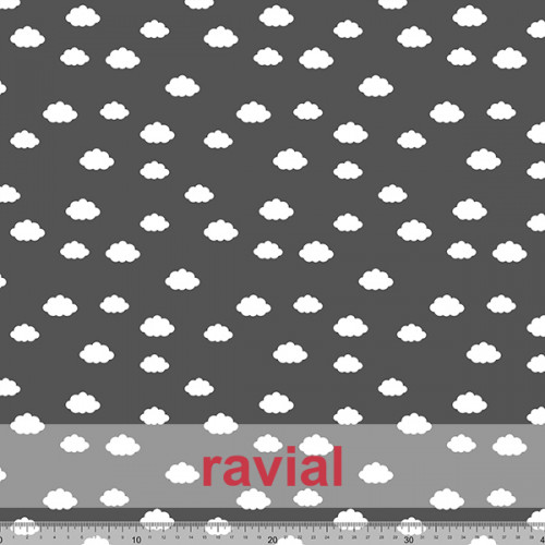 MASCARADA. Poplin fabric. Cloud print. Pattern: 18,75x16,66cm.