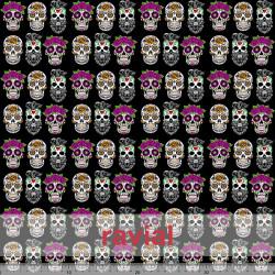 ECO-BAIKAL. Recycled polyester fabric. Skulls print.