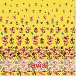 KIRA. Soft satin fabric. Printed with floral border.