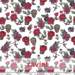 GUAJIRA. Soft bi-elastic techno-peach fabric. Flower and skull print.