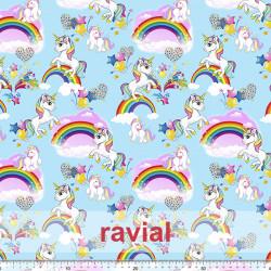 Tejido de polar suave. Estampado arcoíris, unicornios.