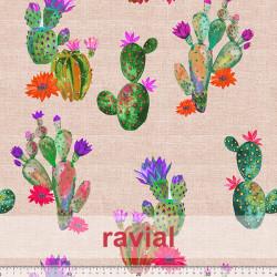 Tejido de poliéster anti manchas. Mantel con estampado cactus/ chumberas.