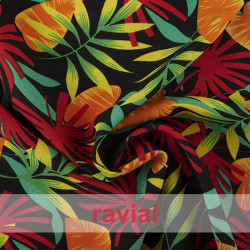 BASICO STRECH ESTP TROPICAL. Polyester fabric. Tropical print.