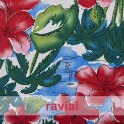 BASICO STRECH ESTP  HAWIANO. Polyester fabric. Hawaiian print.