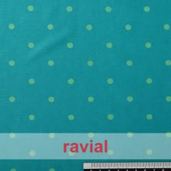 TABLAO. Tela de punto especial para faldas de ensayo. Estampado de lunares 1 cm diámetro.