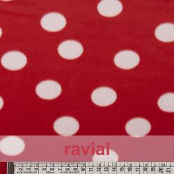 ANIMALIA PELDI. Short fur fabric. Polka dot print 3 cm (approx).
