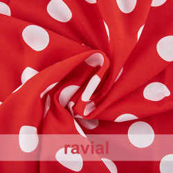BASICO STRECH EST. BULERIA GR. Polyester fabric. Big polka dot print 3,50 cm.