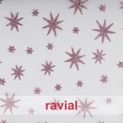 TULES ESTRELLAS ESTRELLAS. Tulle fabric with glitter ornaments.