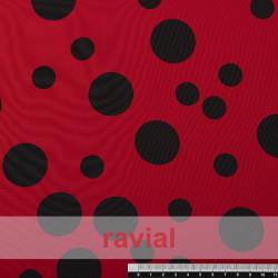 NATASHA TOPO IRREGULAR GR. Drape crêpe fabric. Normally used for flamenco dresses. Irregular polka dot.