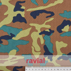 BASICO STRECH EST.RAMBO. Polyester fabric. Military print.
