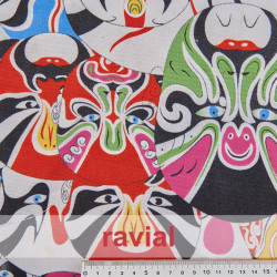 BASICO STRECH EST. MASCARAS. Polyester fabric. Masks print.