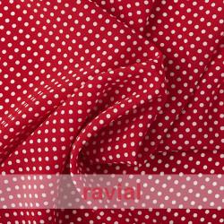 NATASHA  TOPO PQ. Tela de crespón con mucha caída, perfecta para trajes de flamenca. Estampado de lunares pequeños de 0,40 cm.